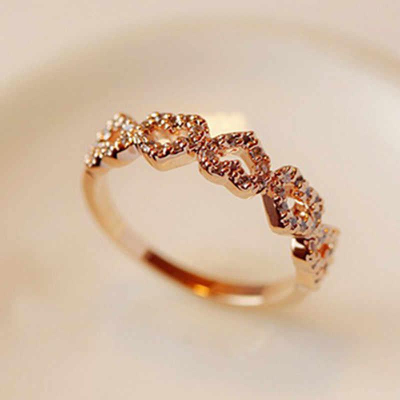 หญิงหัวใจแหวนประณีตคริสตัลแหวนเครื่องประดับหมั้นแฟชั่น Japan และ South Korea สไตล์ห้าแหวนหัวใจ