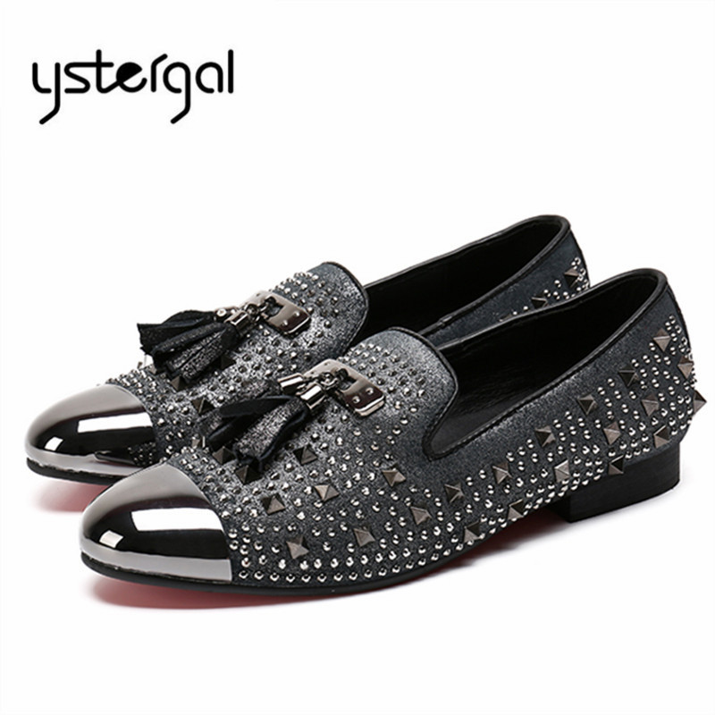 YSTERGAL Rhinestone Rivets Men Loafers Slip On Flat Shoes Mens Fringed Casual Shoes Flats Zapatillas Hombre Espadrilles Creepers 2017 wholesale hot breathable mesh man casual shoes flats drive casual shoes men shoes zapatillas deportivas hombre mujer