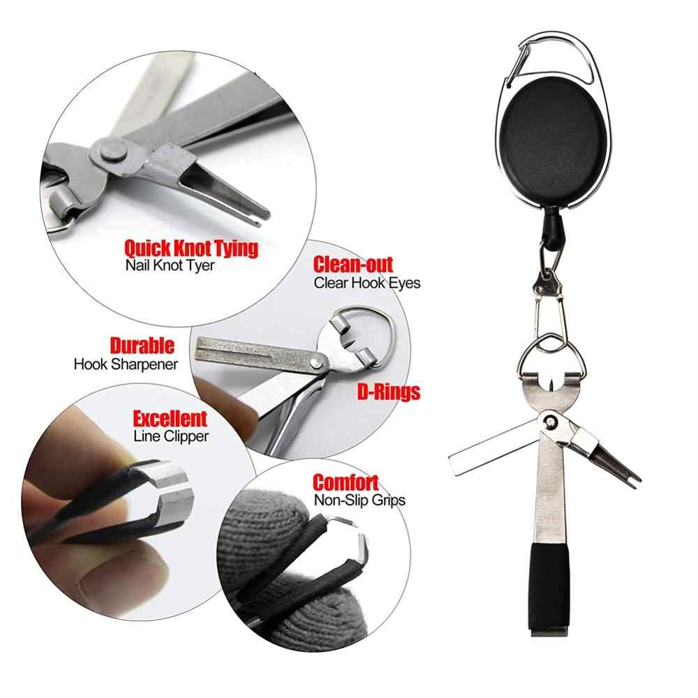 2019 Quick Knot Tool Fly Fishing Nipper Fly Line Cutter Clippers Snips Fast Tie Nail Knotter with Retractor Fishing Tackle Tools