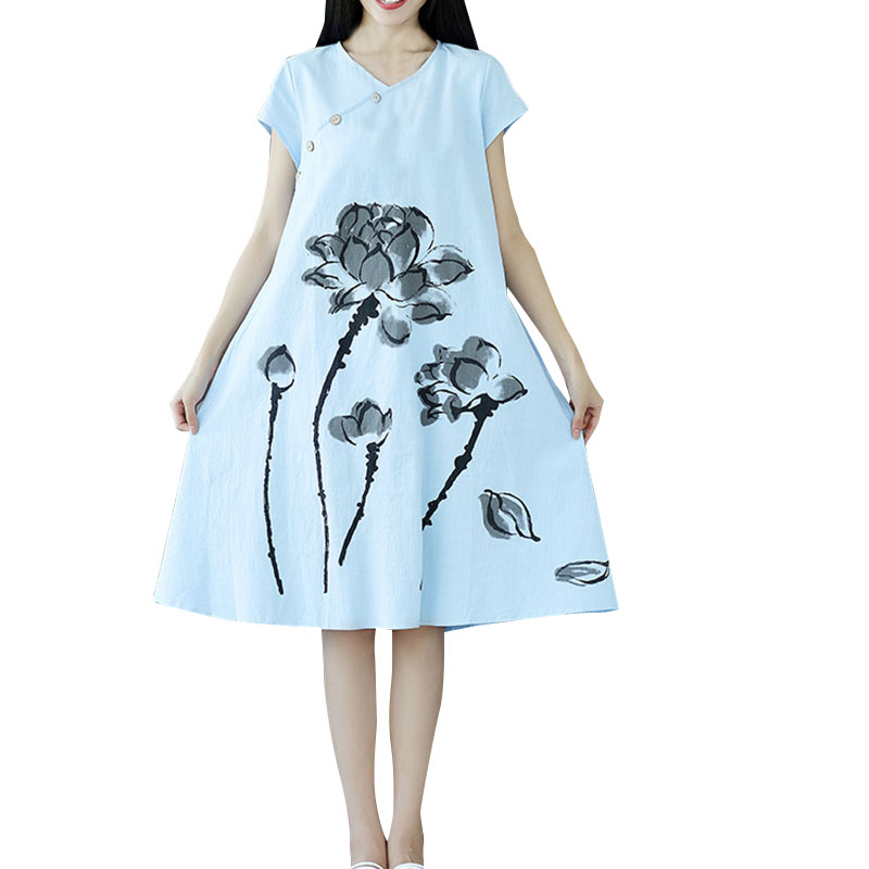 Step by Step Store Oioninos 2017 Women Summer Fashion Lotus Pattern Print Short Sleeve Long Dresses Cotton Linen Comfortable Chinese style Vestidos