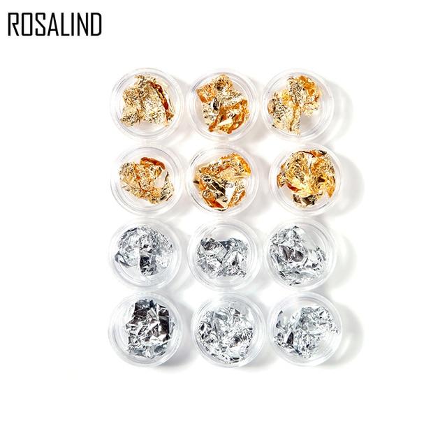 Розалинд 12 штук комплект Золотая, серебряная, блестящая Фольга для ногтей Стикеры клейкий гель Клей программное обеспечение для передачи блестки полное покрытие украшения