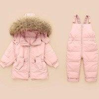 Baby Snowsuit 30 Degree Russian Winter Children's White Duck Down Jacket Boy Coat Thicken Girl Outerwear + Romper Clothing Set