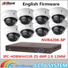 Auto Focus IP Dome Camera Dahua HDBW4431R-ZS 4MP 1080P POE 2.8-12mm lens Waterproof Onvif 8Channel NVR NVR4208-8P Web Camera