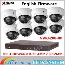 Auto Focus IP Dome Camera Dahua HDBW4431R-ZS 4MP 1080P POE 2.8-12mm lens Waterproof Onvif 8Channel NVR NVR4208-8P Web Camera