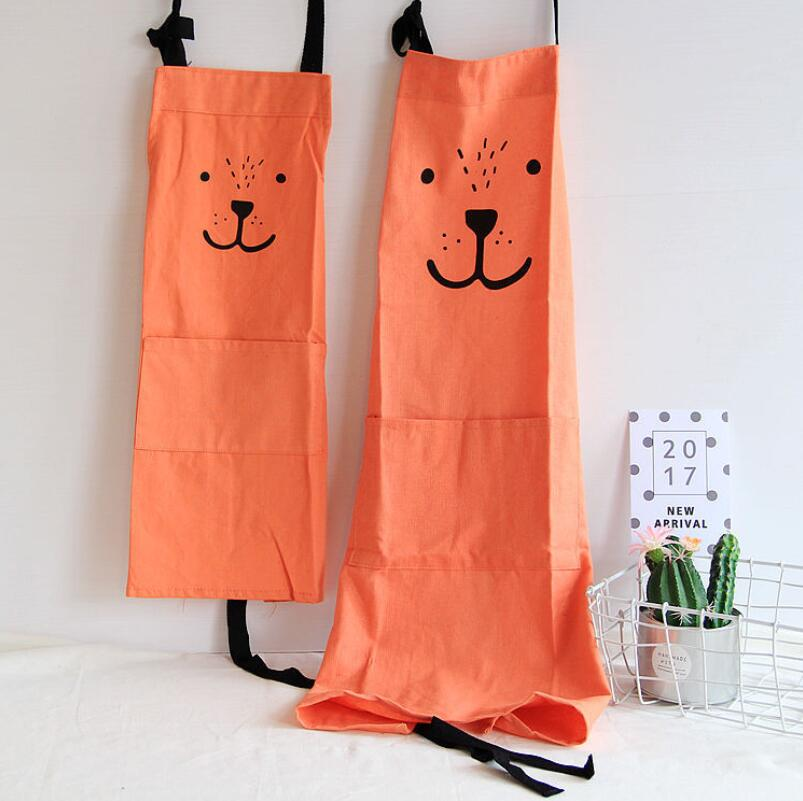 1pcs Cute Working Apron With Pocket Home Kitchen Baking Painting Apron Children Adult Cooking Apron