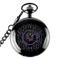 Black Vintage Skeleton Mechanical Pocket Watch Men Womens Necklace Pocket Watch With Chain Male Clock nightmare christmas Gifts