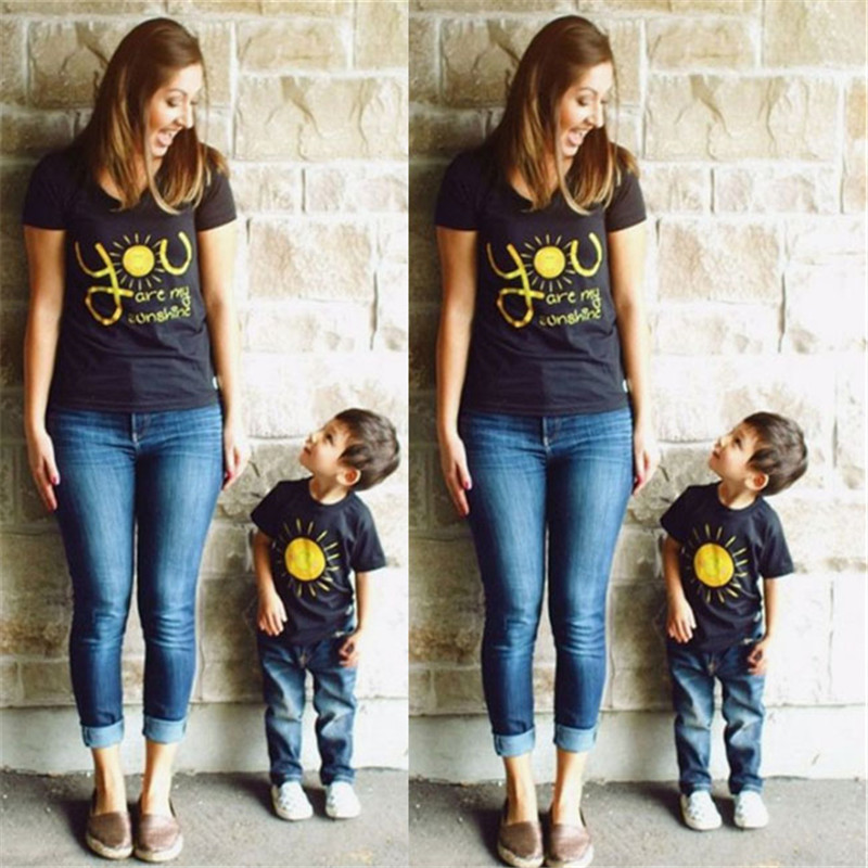 4372a43483e1 you are my sunshine Family Matching Shirt Mother Daughter Kids T shirt Tops  Clothes Outfits Casual Tshirt-in Matching Family Outfits from Mother & Kids  on ...