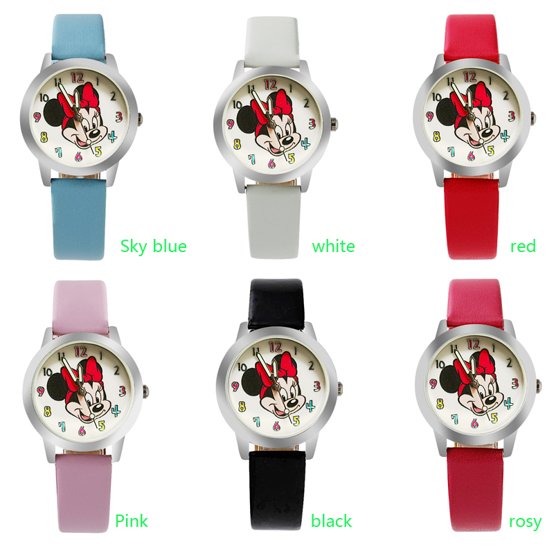 Quartz-Watch Color-Number Girl Minnie Children Cartoon Fashion Dial Mouse-Style Beautiful