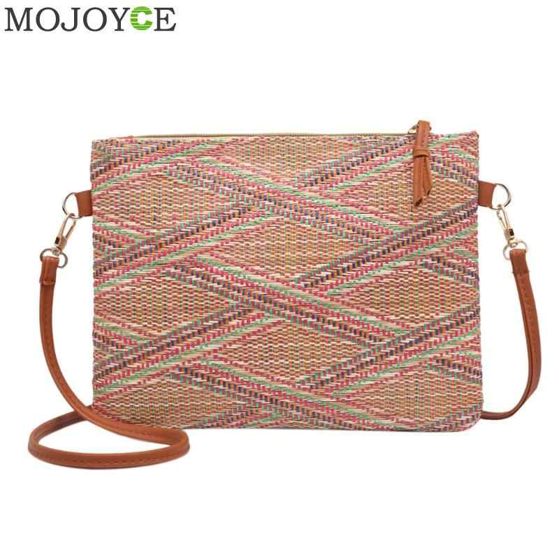 96d547538e 2018 New Fashion Multicolour Vintage Bags Weave Handbags Women s Shoulder  Bag Messenger Bag Colorful Handbag Casual