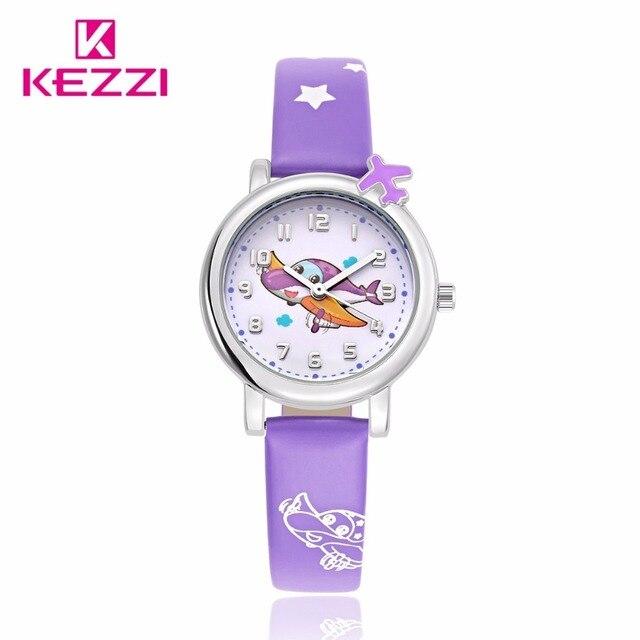 kezzi cartoon Casual Watch Children Cute Cartoon Plane Pattern Sweet Style Quartz Wristwatch Kids Color Clock