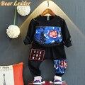 Bear leader ropa de los muchachos 2016 nuevo otoño boy juegos de ropa para niños ropa de manga larga de impresión de la letra t-shirt + pants 2 unids trajes
