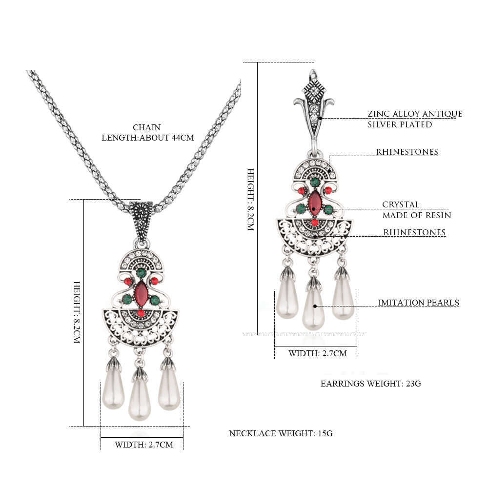 Vintage Tibetan Silver Crystal Pearl Flower Earring and Necklace Set for Bride Women Bridesmaid Wedding Ethnic Jewelry