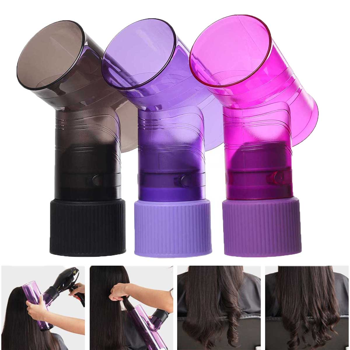 3 Colors Hair Dryer Diffuser Magic Wind Spin Curl Blow Dryer Hair Roller Curly Curler Maker Salon Blower Hairstyling Tool