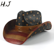 d59aa571f71ed Summer Straw Women Men Western Cowboy Hat With American Flag For Dad  Sombrero Hat(China