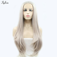 Sylvia Heat Resistant Natural Hairline Straight Long Synthetic Hair Middle Parting Handmade Lace Front Wigs for Women Ash Blonde
