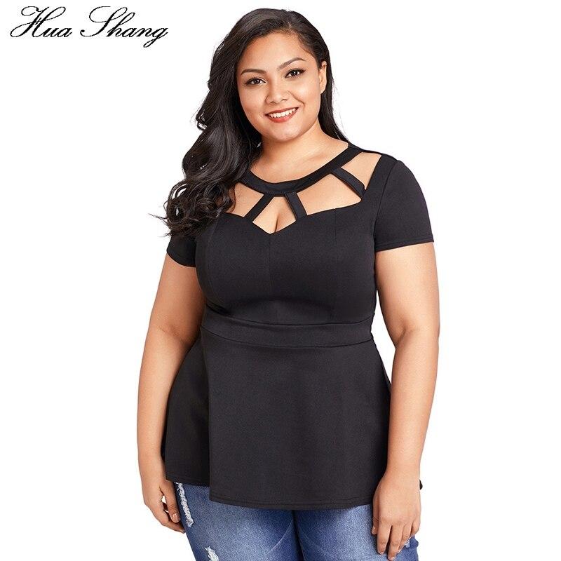 2018 Fashion Women Summer Short Sleeve Casual Peplum Blouse Elegant Hollow Out O Neck Sexy Women Top Plus Size Ladies Tops Black