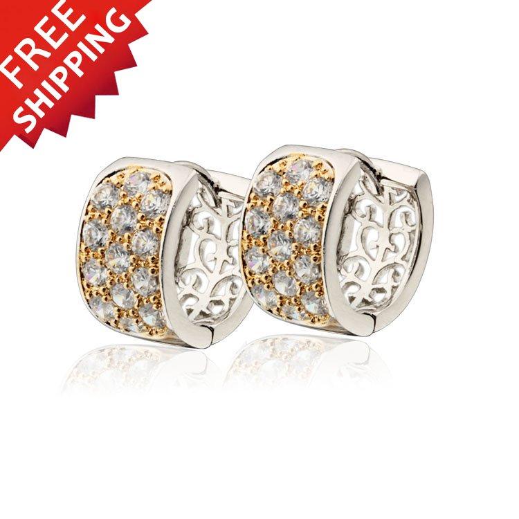45618fe067f2 Venta 2018 nueva CC Hoop pendientes para las mujeres Bijoux Femme Boucle  Joias Oro Brincos Ouro Oro cristal joyería del Zircon e2233W