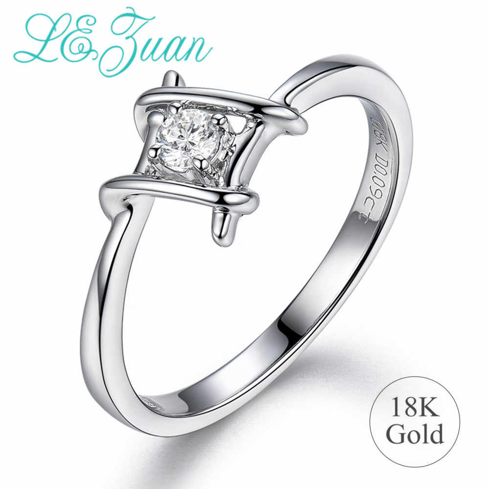 L&zuan Genuine 18K Gold Jewelry Rings for Women Real 0.09ct Natural White Diamond Rings Female Valentine Gift Wedding Band Rings