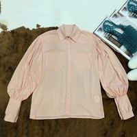 Для женщин блузки 2019 Мода Блузка с длинными рукавами рубашка сплошной элегантный розовый Офисные женские туфли рубашка Повседневное топы ш