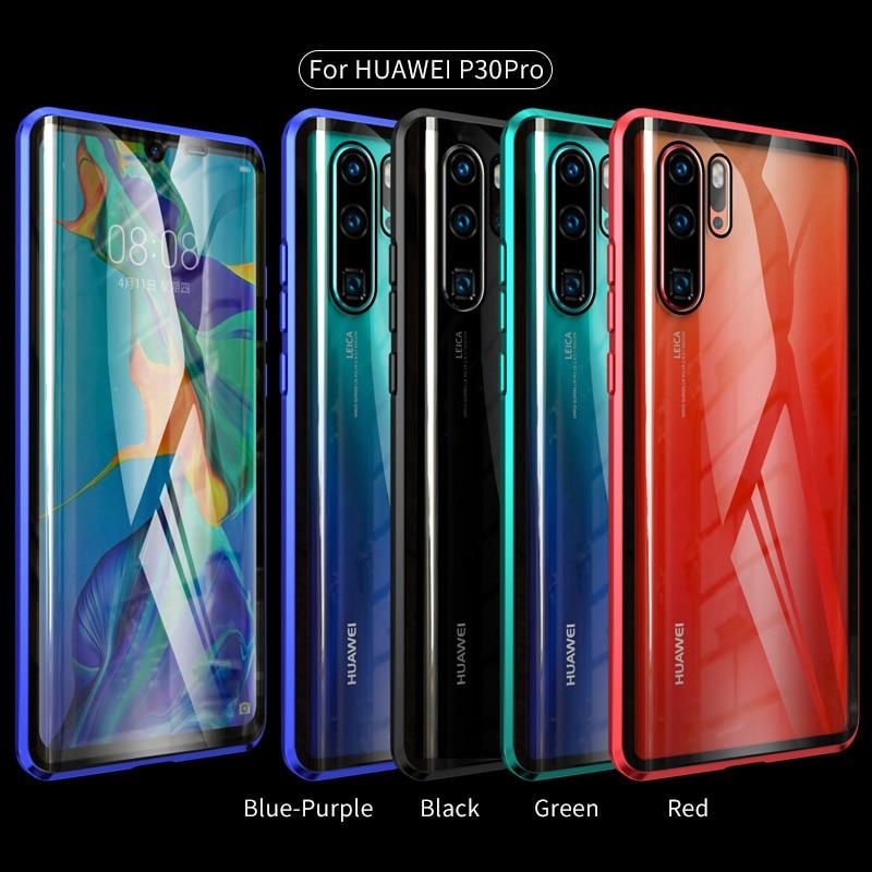 Front + Back Clear Glass Magnetic Metal Case For Huawei P30 P20 Mate 20 Pro Honor 20 Pro 20i V20 Nova 4 3i 3 5 Pro 5i Full Cover