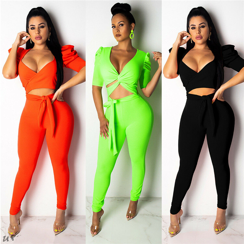Summer Women Clothes Set Casual Ladies Clubwear Summer Skinny Bodycon Party Short Sleeve Crop Tops+Long Pants Solid Color Set