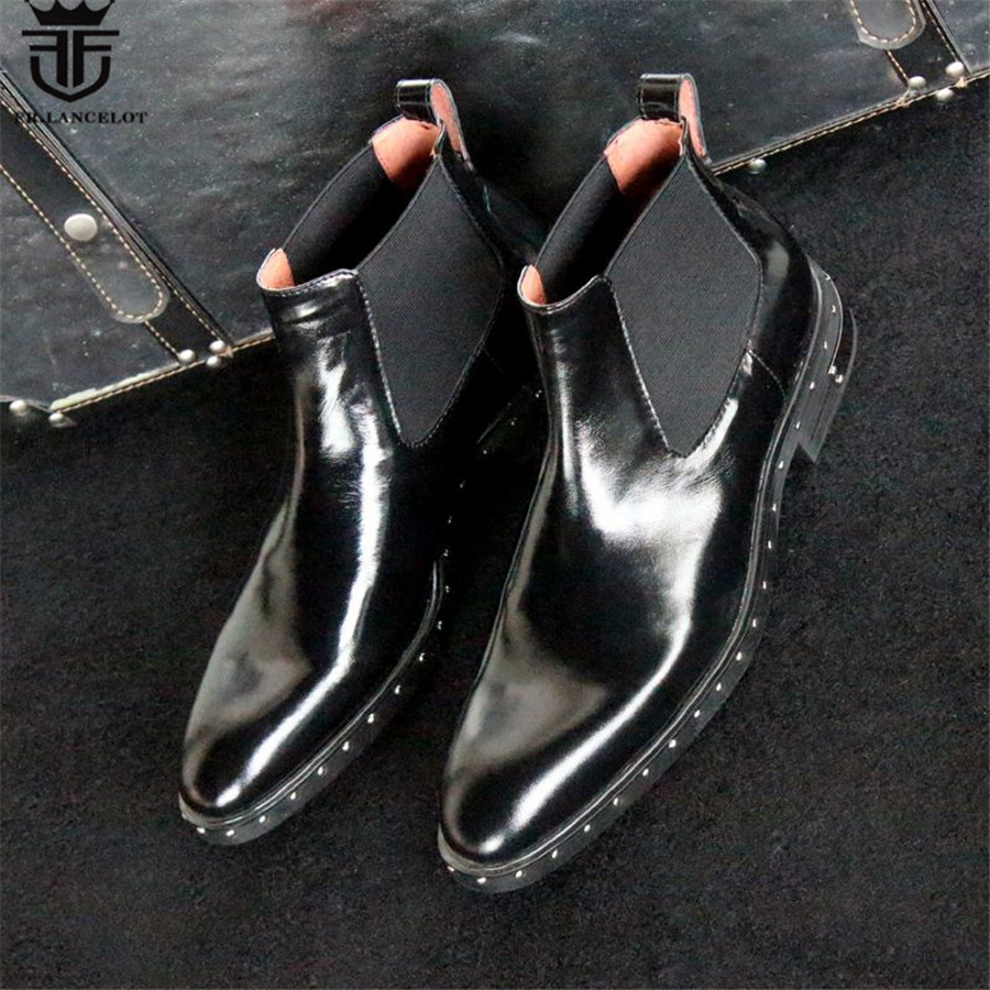 17 Luxury High End Handmade Slip-On Genuine Leather Catwalk Rivets Martin Boots Wedge Ankle Chelsea Men Boots nayiduyun women genuine leather wedge high heel pumps platform creepers round toe slip on casual shoes boots wedge sneakers
