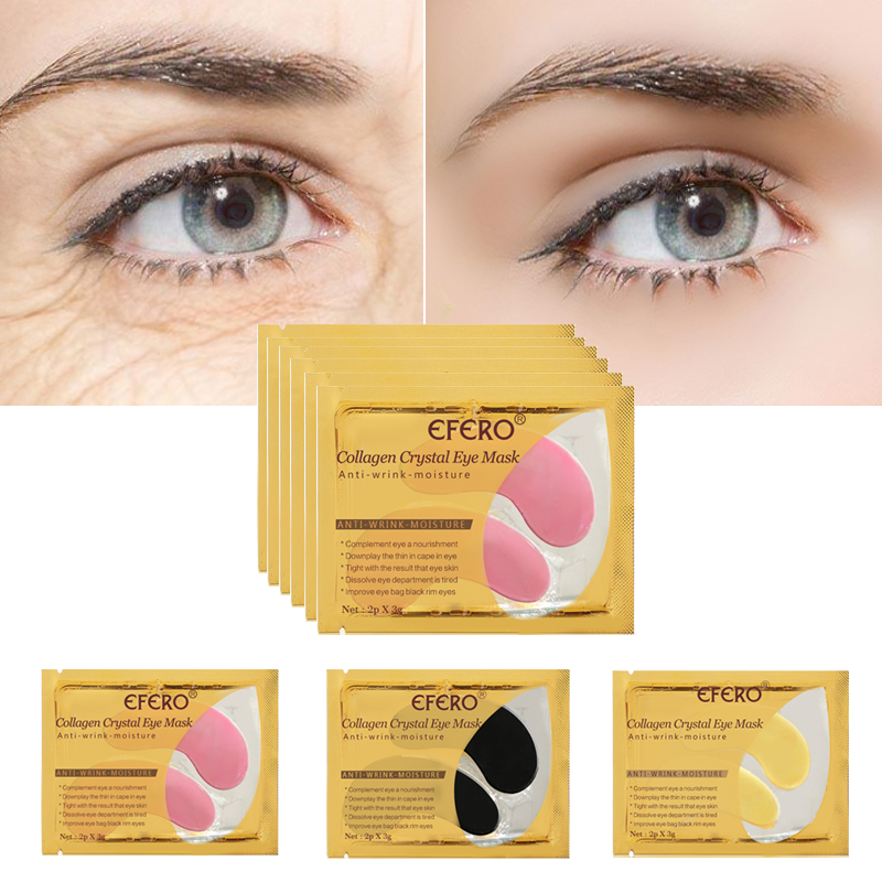 efero 5pair=10pcs 24K Gold Serum Collagen Eye Mask Anti-Aging Anti Wrinkle Remove Dark Circles Eye Bags Gel Collagen Eye Patch(China)