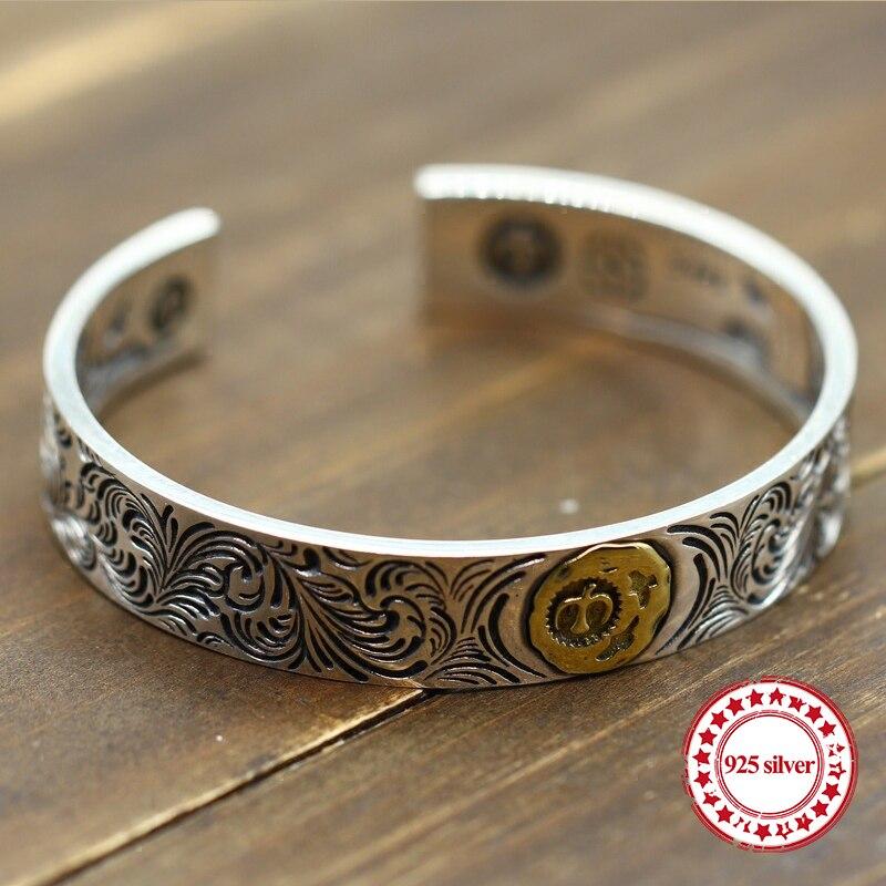 Sterling Argent Bracelet Ouvert personnalisé rétro de mode en laiton Indien Aigle Plume Style haute-fin sculpté simple bracelets cadeau