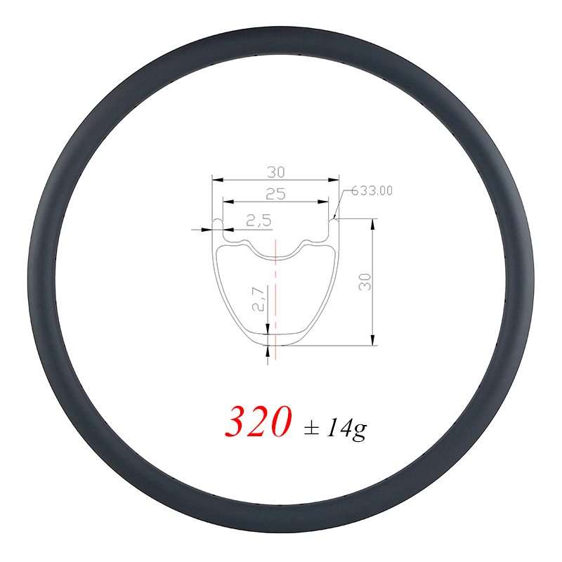 Light weight 320g 29er XC tubeless MTB Carbon Rim 30mm x 30mm UD Matte Glossy 25mm
