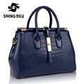 Brand  Women's Large Capacity Luxury Alligator Genuine Leather Top Handle with Zipper Handbag Ladies Briefcase Top-handle Totes