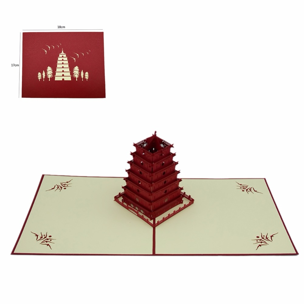2018 Newest Chinese Style 3D Birthday Cards Merry Christmas Tree ...