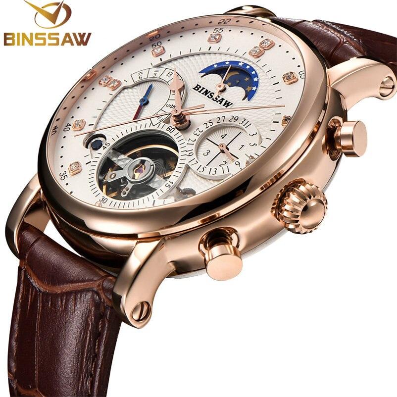 BINSSAW Men Watch Mechanical Tourbillon Luxury Fashion Brand  Leather Man Sport  Watches Mens  Automatic Watch Relogio Masculino diamond stylish watches for girls
