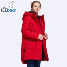 ICEbear 2017 Women s Winter Medium Length Thick Large Pocket Winetr Jacket Women Windproof Stand Collar