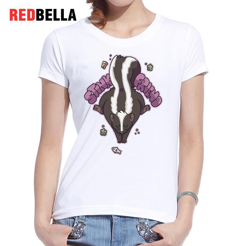 REDBELLA Ulzzang Korean Kawaii Printing Tshirt Cotton font b Women b font Spoof Funny Animals Hipster