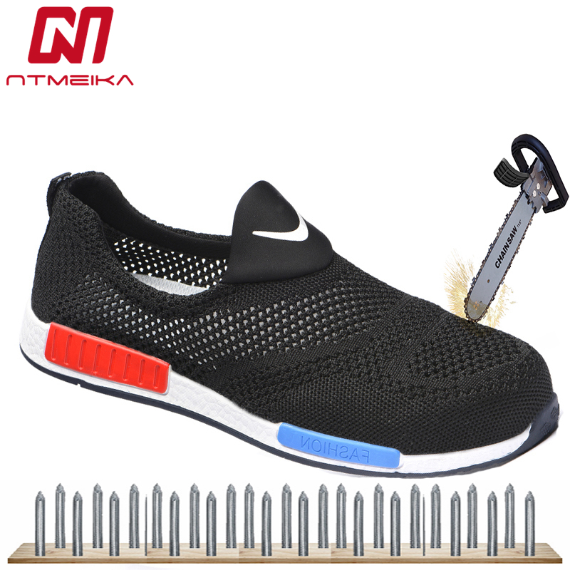Fashion Breathable Safety Shoes Men Summer Lightweight Work Shoes Steel Toe Soft Bottom Puncture-proof Safety Work Boots For Men women safety shoes steel toe cap women summer breathable work shoes safety shoes for men casual steel toe boots sepatu safety