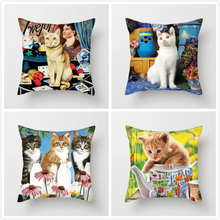Fuwatacchi Cute Cat  Throw Pillows Cushion Cover Animal Printed Pillow Decorative for Sofa Car