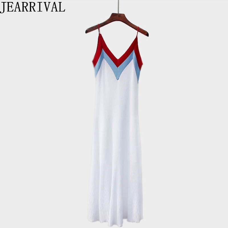 2018 New Fashion Summer Dress Women Sleeveless Sexy V-Neck Spaghetti Strap Knitted Casual Holiday Beach Dress Vestido De Festa 2018 ladies women casual knitted dress sexy strap slip sleeveless v neck solid home bottoming straight sweater dress