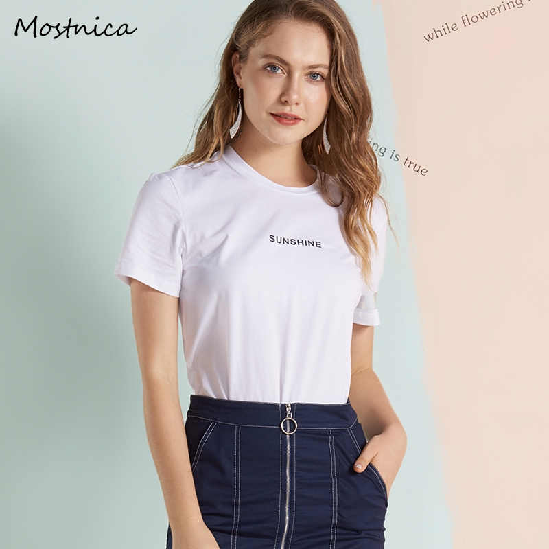 332b75800b555 Mostnica Summer Solid White Lady T Shirt Cotton Casual Letter Reflective  Strip T-shirt for Women Short Sleeve Tops Woman Clothes