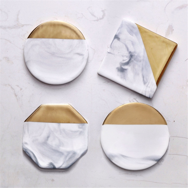 3 Styles Round Square Octagon Dali Marble Cup Mat Gold Marble Coaster Cup Mat Placemat Pad Holder Mug Coaster Table Placemat