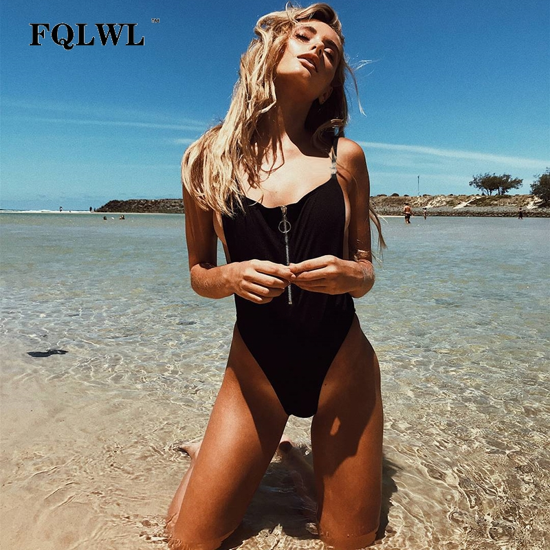 FQLWL Zipper Spaghetti Strap Sexy Bodysuit Women Sleeveless Black Bodycon Leotard Summer 2018 Combinaison Femme Body Salopette