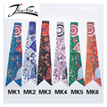 Twilly  2016 new fashion Printed animal peacock floral headband  small ribbon scarf wrapping headwear