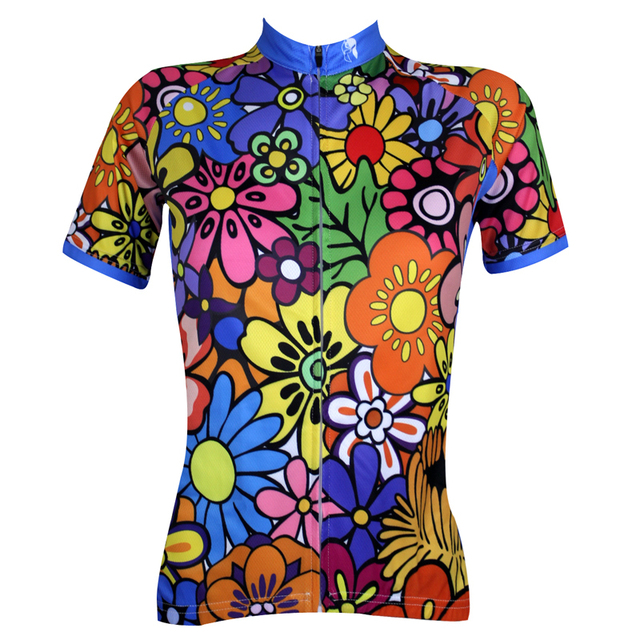 Paladin Flower Color Womens Short Sleeve Cycling Jersey Bike