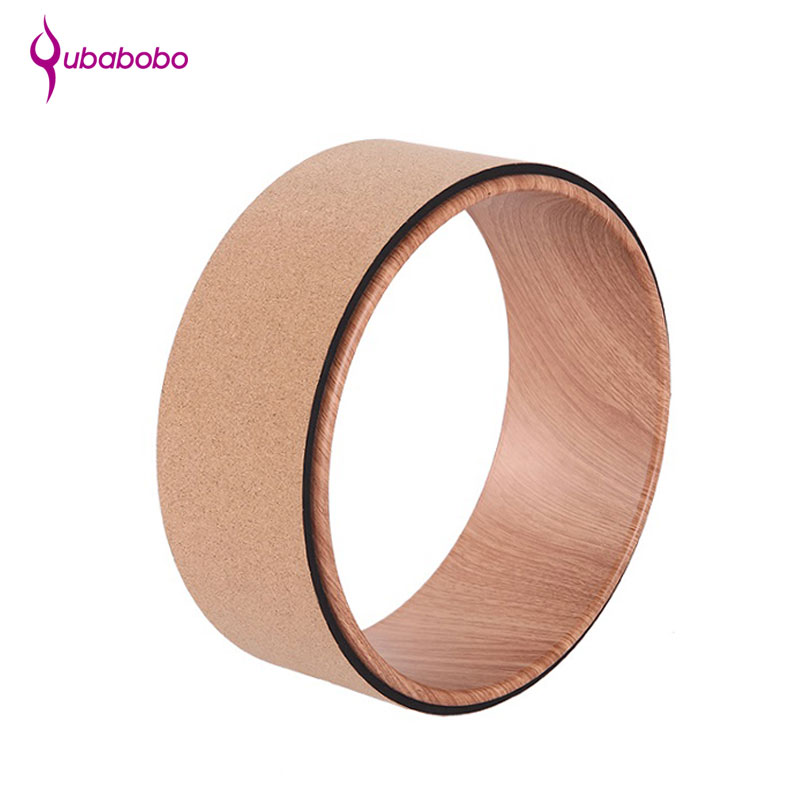 [QUBABOBO] Cork Surface Yoga Circles Pilates Exercise Sports Training Equipment Professional Body Building Fitness Wheel