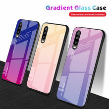 New Gradient Tempered Glass Phone Case For Huawei P20 Lite P30 Pro P Smart 2019 Honor 8X 10 9 Lite Nova 3i 3 4 Mate 20 10 Cover(China)