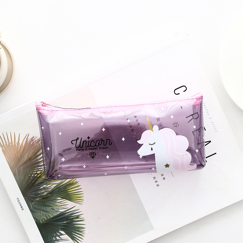 2018 new pencil case Cartoon unicorn School office student stationery transparent smooth soft PVC bag pen box gift Papelaria in Pencil Cases from Office School Supplies