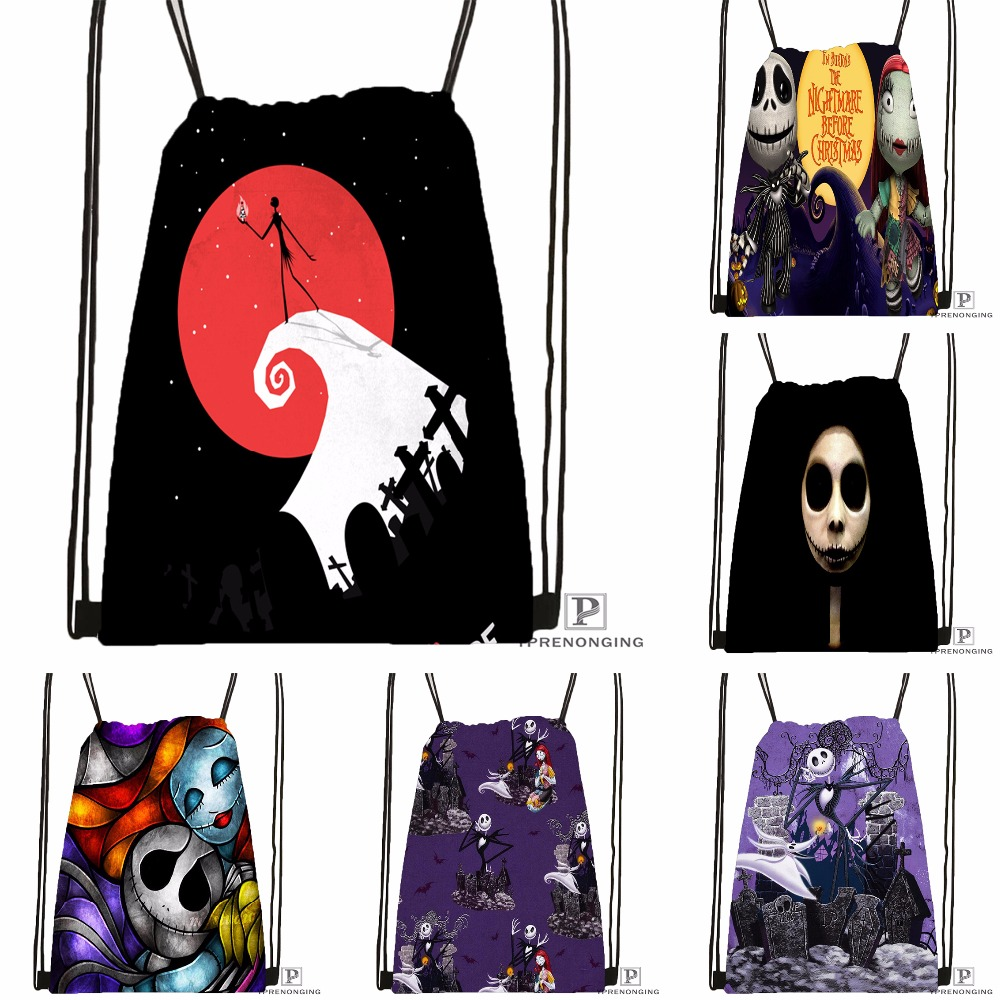 Custom The Nightmare Before Christmas Drawstring Backpack Bag Cute Daypack Kids Satchel (Black Back) 31x40cm#180531-03-53