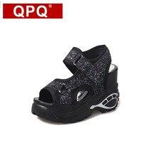 QPQ Plattform Sandalen Frauen Sommer Sport Casual Sandalen Mesh Atmungsaktive Schuhe Damen Plateau Sandalen Keile Frauen Sandale Femme