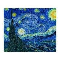 ואן גוך ליל כוכבים צמר רך שמיכה לזרוק שמיכת צמר זורק מאנטה Coberto עבור ספה/מיטה/מכונית/משרד