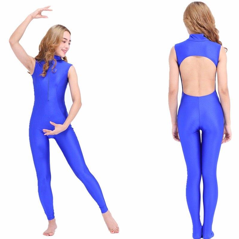 SPEERISE Womens Lycra Spandex Mock Neck Front Zipper Sleeveless Backless Dance Footless Gymnastic Ballet Unitard