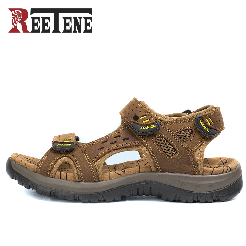 00f2a9229ad8a0 REETENE Summer Shoes Men Casual Shoes Men Leather Sandals 2017 New Men S  Sandals Outdoor Male Toe
